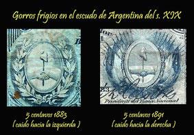 Argentina 5 centavos de peso 1884 vs. 5 centavos de peso 1892 -gorros frigios