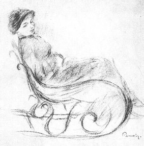 Renoir Woman in a Rocking Chair , pencil and crayon
