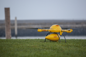 The DHL drone and its transport unite have landed.