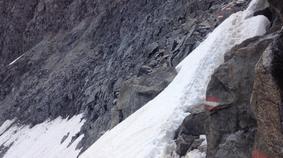 Gletscher Fels Steilhang Geröllhang Braunschweiger Hütte Alpen Österreich E5 Zwieselstein Sonneck