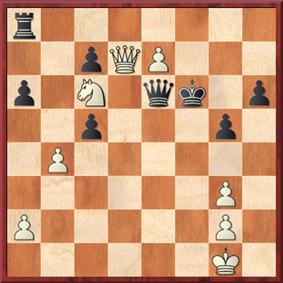 Roth - Mauelshagen: Schwarz zog 36. ... Dd6 37. e8=S+ Kg6 38. Sxd6 Txd8 39. Sxd8 cxd6 40. bxc5 dxc5