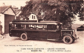 Maurice BAZUS, de Saint Lon les Mines, a monté son entreprise de transports. Comme le montre le document ci-contre, à la fin des années 1940, il a un emplacement réservé pour stationner sur le foirail de Peyrehorade, les jours de marché.