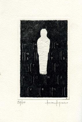 acquaforte originale di Luciano Ragozzino numerata e firmata - lastra 128x80 mm