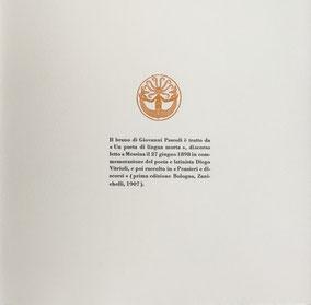 pagina con stampa tipografica in nero e linoleografia originale