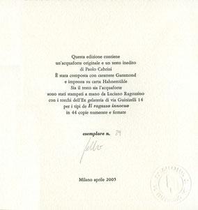 colophon numerato e firmato