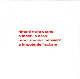 pagina di testo con stampa tipografica in rosso