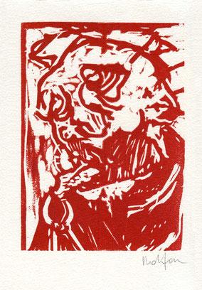 linoleum originale di Paolo Dolzan numerato e firmato - lastra 150x108 mm