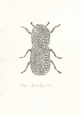 composizione tipografica originale dell'autore numerata e firmata - circa 115x90 mm