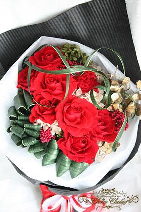 ディズニー プロポーズ ミラコスタ 赤薔薇 花束 プリザーブドフラワー オーダーフラワー  シュシュ chouchou  舞浜花屋