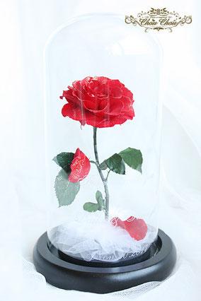 ウェディング  サプライズ プレゼント 美女と野獣 一輪のバラ ガラスドーム  プリザーブドフラワー オーダーフラワー  シュシュ chouchou