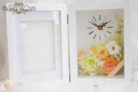 ウェディング 結婚式 両家 贈呈用 フラワーギフト プレゼント プリザーブドフラワー 時計 フォトフレーム
