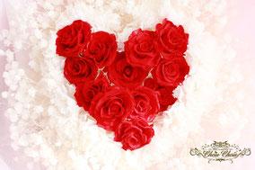 ウェディング サプライズ ハートの花束 プリザーブドフラワー 花屋