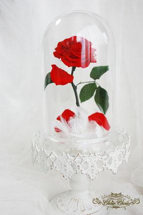 美女と野獣 1輪 薔薇 ガラスドーム  プロポーズ ウェディング プリザーブドフラワー