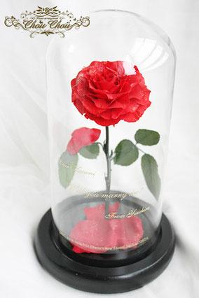 ディズニー プロポーズ ミラコスタ 美女と野獣 一輪の薔薇 魔法 ガラスドーム  プリザーブドフラワー 刻印