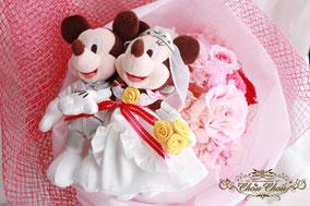 ディズニープロポーズ 花束 薔薇 ウェディングミッキー&ミニー プリザーブドフラワー