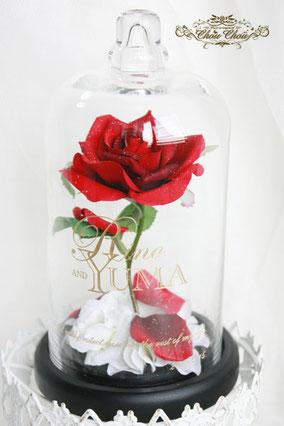 美女と野獣 1輪 薔薇 ガラスドーム  プロポーズ ウェディング 造花