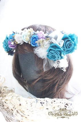 ウェディング 結婚式 花冠 ターコイズブルー レース プリザーブドフラワー