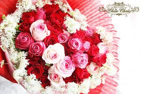 誕生日 バラ ハートの花束 ミラコスタ オーダーフラワー シュシュ chouchou 舞浜花屋