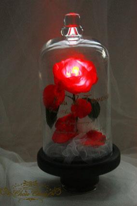 美女と野獣 薔薇 ガラスドーム ディズニー プロポーズ LED オルゴール 刻印