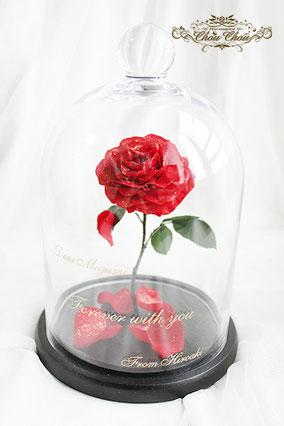 結婚式 二次会 プレゼント 新婦 美女と野獣 一輪の薔薇 ガラスドーム  刻印 オーダーフラワー  シュシュ chouchou