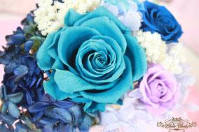 フラワーギフト プレゼント プリザーブドフラワー ターコイズブルー 薔薇