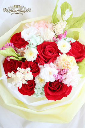 ディズニープロポーズ ミラコスタ プリザーブドフラワー 花束 赤薔薇 オーダーフラワー  シュシュ chouchou