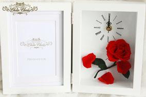 美女と野獣 時計 フォトフレーム 結婚祝い ウェディング  フラワーギフト プレゼント フレーム プリザーブドフラワー