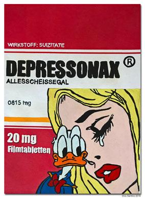 #pharma #art #medikament #depressonax #depression #divosantino #2018 #painting #traurig #tränen #trösten