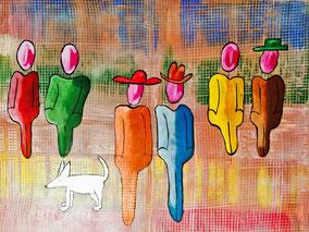 Mode, flanieren, Paare, Licht, Wald, Himmel, Strasse, Hund, modern, bunt, Stifte, Federn, trend, Divo Santino. Kleinkarrierte Welt, Spießbüger