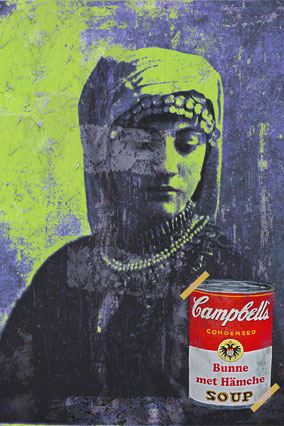 Campbells Kölsche Art, Divo Santino, Pop Art, Kölner Wappen, Köln, Frau mit Kopftuch, tradition, bunne met Hämche, regionales Gericht,