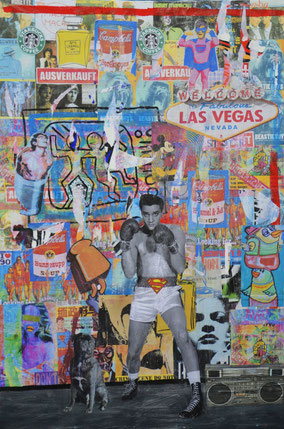 Viva las Vegas, Divo Santino, Pop Art, Collage, Plakatwand, Radio, Musik, Mops, Supermann, Campbells