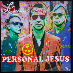 Divo Santino, Collage, Acryl, Wandbild, Personal, Jesus, Pop, Cover, Depech Mode