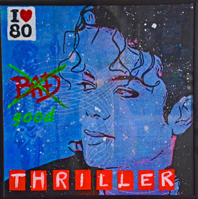 Divo Santino, Collage, Acryl, Wandbild, Thriller, Bad, 80, König, Pop, Cover, Michael Jackson
