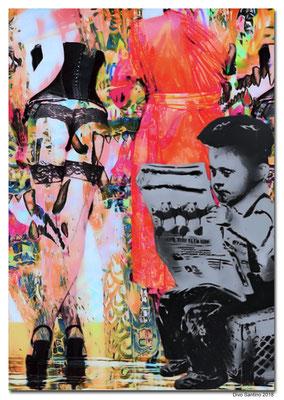 #collage #2018 #graffiti #divosantino #artwork #woman #paper #zeitung #strapse #girls #hostess #mönch #kunstdruck