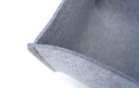 Rob&Raf Korb aus Polyester Filz in Grau Nahaufnahme Material Stärke Naht