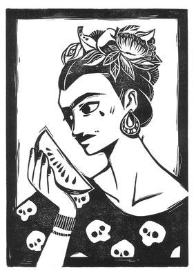 Frida Kahlo Linoldruck Print