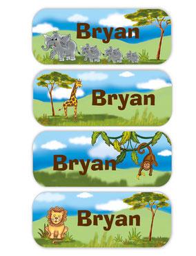Namensaufkleber mit Elefanten, Giraffe, Affe und Löwe - liebevoll handgemaltes Motiv
