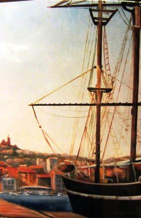 le vieux port à Marseille, Notre-Dame-de-la-Garde