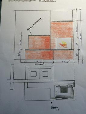 Die Planung von einem Cheminée.