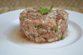 Tartar de langostinos y tomate