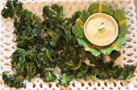 Hojas de kale (col rizada) crujientes