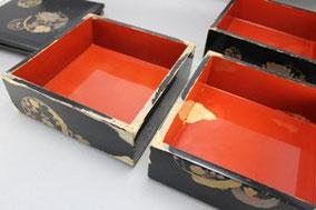 木製重箱 総塗替えと蒔絵をアレンジ