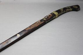 火縄銃の銃床の漆塗り修理