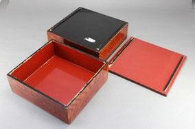 木製木地呂重箱の部分塗替え修理