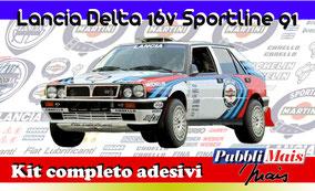 lancia delta 16v martini sportline 1991 kit adesivi