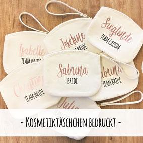 Kosmetiktäschchen Täschchen Hochzeit bedruckt personalisiert Team Bride Groom Hochzeitsgeschenk Brautjungfern Trauzeugin Geschenk