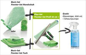 Fenster-Set Handschuh Art.Nr. 7220 oder Fenster-Set Tuch Art.Nr. 7215 zusammen mit Fenster-Set Profi 35 cm+ - Art.Nr. 7251 --> Gratis Glasreiniger 500-ml-Flasche + Schaumpumpe im Wert von CHF 9.70