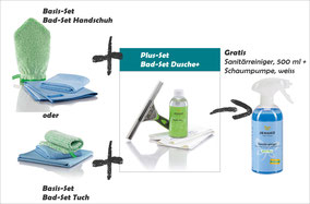 Bad-Set Handschuh Art.Nr. 7431 oder Bad-Set Tuch Art.Nr. 7430 zusammen mit Bad-Set Dusche+ Art.Nr. 7441 -->  Gratis Sanitärreiniger und Schaumpumpe im Wert von CHF 10.70