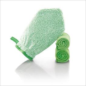 Fenster-Set Handschuh Art.Nr. 7220 • Reinigungshandschuh, grüne Faser • Profituch Plus M 40 x 45 cm, grün • Trockentuch mittel 45x60 cm, grün • inkl. Klickbox