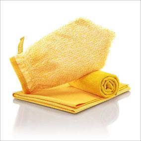 Wohn-Set Handschuh Art.Nr. 7362 • Reinigungshandschuh, gelbe Faser • Profituch Plus M 40x45 cm, gelb • Trockentuch mittel 45x60 cm, gelb • inkl. Klickbox